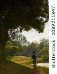 man traveler with backpack... | Shutterstock . vector #1089211847