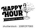 happy hour banner  woman in... | Shutterstock .eps vector #1089297083