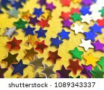 colorful stars on yellow... | Shutterstock . vector #1089343337