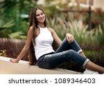 happy girl in the park  cute... | Shutterstock . vector #1089346403