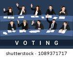 voting raised hands of... | Shutterstock .eps vector #1089371717