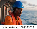 tired seaman ab or bosun on... | Shutterstock . vector #1089373097