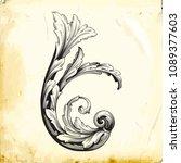 retro baroque decorations... | Shutterstock .eps vector #1089377603