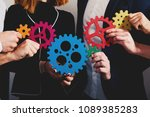 business team connect pieces of ... | Shutterstock . vector #1089385283
