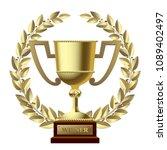 winner gold cup and laurel... | Shutterstock .eps vector #1089402497