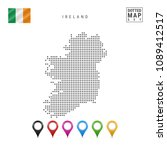 dotted map of ireland. simple... | Shutterstock .eps vector #1089412517