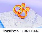 golden gender mars double... | Shutterstock . vector #1089443183