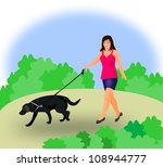 a young girl walking the dog in ... | Shutterstock . vector #108944777