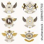 vector classy heraldic coat of... | Shutterstock .eps vector #1089457703