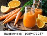 healthy detox orange carrot...   Shutterstock . vector #1089471257