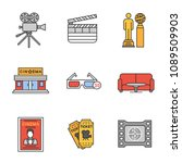 cinema color icons set. movie... | Shutterstock .eps vector #1089509903