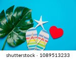 Small photo of colored flop flops sandals and palm leaf near heart shape box. Objects isolated on blue background