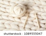 a ball of thick yarn and a... | Shutterstock . vector #1089555047