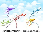 colorful kite collection....   Shutterstock .eps vector #1089566003