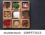 rustic wooden box with many... | Shutterstock . vector #1089571013