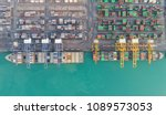 container ship in export and... | Shutterstock . vector #1089573053
