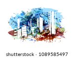 city silhouette on watercolor... | Shutterstock .eps vector #1089585497