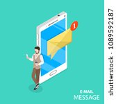 mobile e mail notification flat ... | Shutterstock .eps vector #1089592187