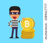 cryptocurrency concept a thief... | Shutterstock .eps vector #1089617777