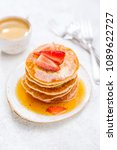 freshly baked pancakes with... | Shutterstock . vector #1089622727