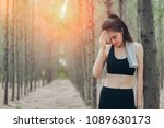 asian woman exhausted or tired... | Shutterstock . vector #1089630173