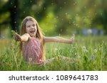 cute happy girl plays in the... | Shutterstock . vector #1089641783