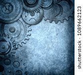 metallic gears background  3d... | Shutterstock . vector #1089662123