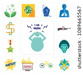 set of 13 simple editable icons ... | Shutterstock .eps vector #1089665567