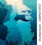 silhouette of manta  freediver... | Shutterstock .eps vector #1089671927