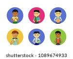 set of schoolboys characters of ... | Shutterstock .eps vector #1089674933