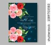 invitation or wedding card with ... | Shutterstock .eps vector #1089703583