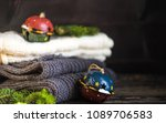 knitted scarfs and hoodie with... | Shutterstock . vector #1089706583
