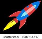 cartoon rocket on black...   Shutterstock . vector #1089716447