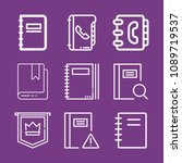 outline bookmark icon set such... | Shutterstock .eps vector #1089719537