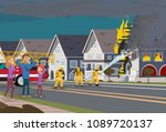 firefighters with engine fire... | Shutterstock .eps vector #1089720137