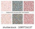 set of six terrazzo veneziano... | Shutterstock .eps vector #1089726137