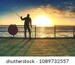 happy disabled man on bridge... | Shutterstock . vector #1089732557