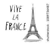 vive la france hand drawn... | Shutterstock .eps vector #1089736487