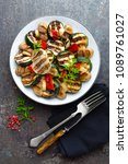salad with grilled vegetables... | Shutterstock . vector #1089761027