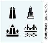 monument related set of 4 icons ... | Shutterstock .eps vector #1089783773