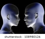 High resolution concept or conceptual 3D wireframe human male or female head isolated on black background as metaphor for technology,cyborg,digital,virtual,avatar,model,science,love,relation or future - stock photo