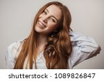 happy young red haired woman in ... | Shutterstock . vector #1089826847