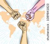volunteering ink line concept.... | Shutterstock .eps vector #1089841823