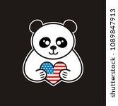 bear with heart vector sketch... | Shutterstock .eps vector #1089847913