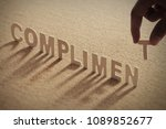 compliment wood word on...   Shutterstock . vector #1089852677