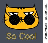 cool cat with sunglasses vector ... | Shutterstock .eps vector #1089858803