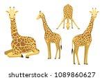 cute giraffe sitting cartoon... | Shutterstock .eps vector #1089860627