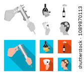 bottle  a glass of wine and... | Shutterstock .eps vector #1089870113