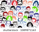 hand drawn seamless pattern of... | Shutterstock .eps vector #1089871163