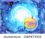 little boy on the world in... | Shutterstock . vector #1089873503